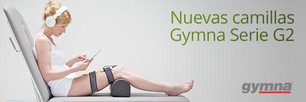 Nueva serie de camillas Gymna.  Paciente recibiendo tratamiento en camilla Gymna modelo G2 Duo