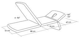 Croquis camilla G2 Trio: Dimensiones camilla Gymna modelo G2 Trio, cabecero regulable de 30º a -72º y sección de piernas de 0 a 80º.